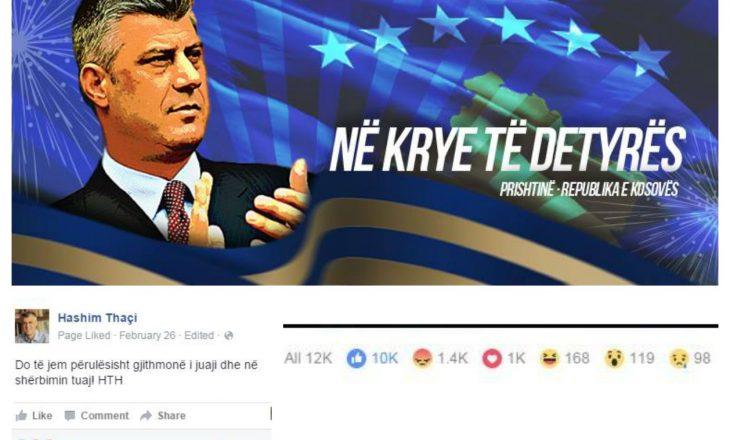 Thaçi në Facebook – pëlqime, zemërim dhe përqeshje