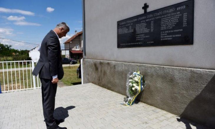 Presidenti Thaçi dënon dëmtimin e pllakës përkujtimore në Grackë