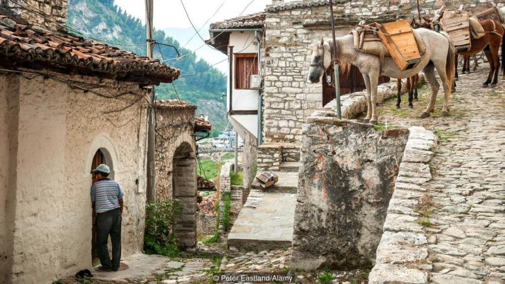 D65TRF In the Mangalemi district of Berat with its ottoman period houses, central Albania.
