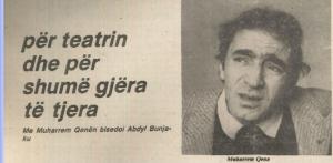Fotografi nga revista Fjala, 1 janar 1982, Intervistë me Muharrem Qenën.