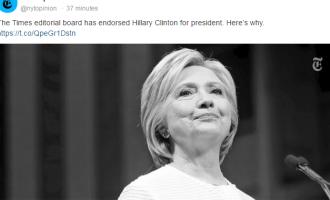 New York Times mbështet Hillary Clinton për presidente
