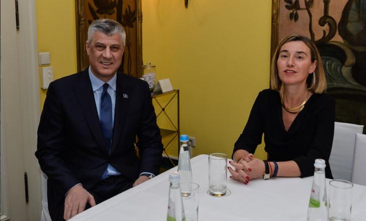 Mogherini i thotë Thaçit që Kosova duhet ta ratifikojë Demarkacionin
