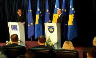 Mustafa nuk e përmend fare Haradinajn në takimin me Mogherinin