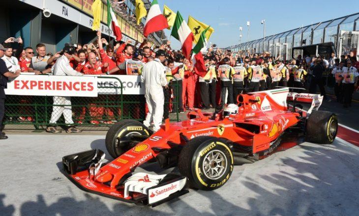 Vettel rikthen Ferrarin te fitorja