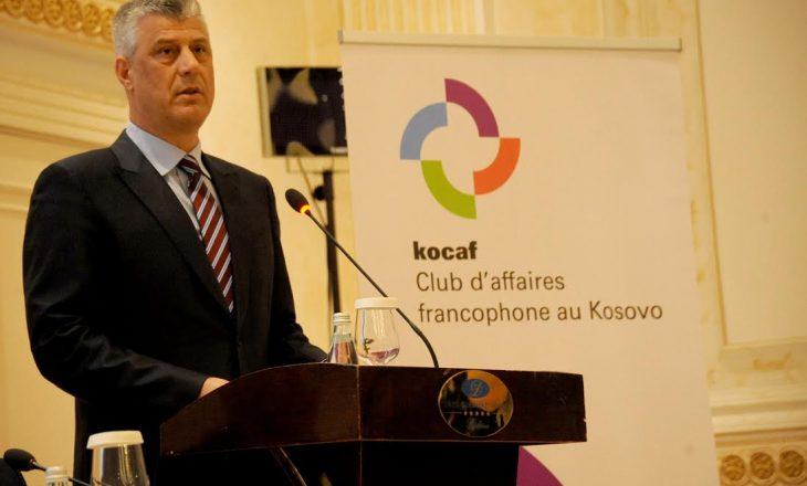 Thaçi: Klubi Frankofon do t'i mundësojë Kosovës të promovojë vlerat ekonomike