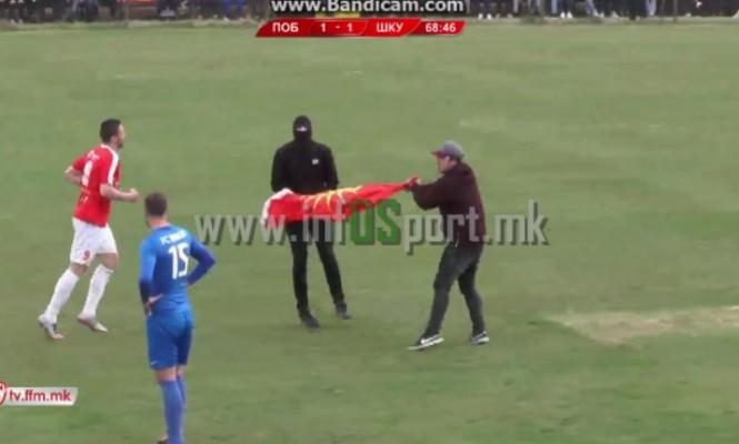 Tifozët maqedonas japin mesazh anti-shqiptar në ndeshjen e futbollit [video]
