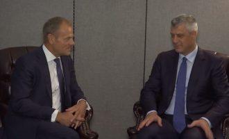 VIDEO: Thaçi takohet me presidentin e Këshillit Evropian