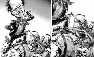 """Karikatura e """"Economist"""" ku Rugova shkelë mbi komandatët e UÇK-së"""