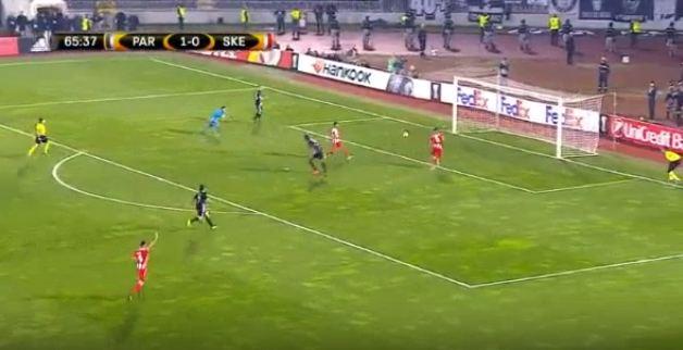 Goli i dytë në ndeshjen Partizani i Beogradit – Skënderbeu
