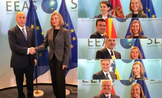Fytyra e ngrysur e Haradinajt me Mogherinin dhe fytyrat e qeshura të homologëve të tij
