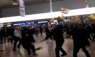 Rrahje masive në aeroportin e Hannoverit (Video)