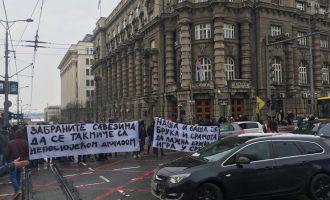 Bllokohet Beogradi, protesta kundër Kosovës