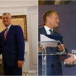 """Vuçiqit – """"mos hiq dorë nga kërkesat tua"""", Thaçit – """"krijo unitet"""" – Kërkesat e Tusk në Prishtinë e Beograd"""