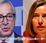 Skandal: Juncker dhe Mogherini bien pre e dy humoristëve dhe flasin për Trumpin