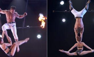 Akrobatit të trapezit i rrëshqet gruaja prej dore gjatë shfaqjes!