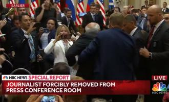 Gazetari largohet me forcë nga konferenca e Trump dhe Putin