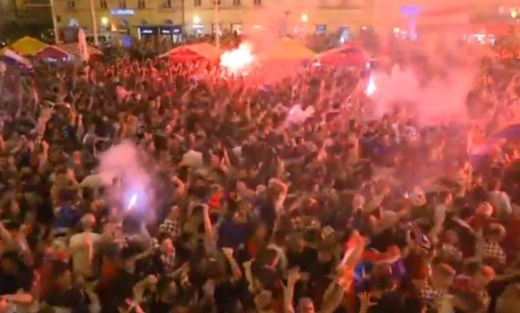 Festa e çmendur e tifozëve të Kroacisë pas kualifikimit në finale të Kupës së Botës (VIDEO)